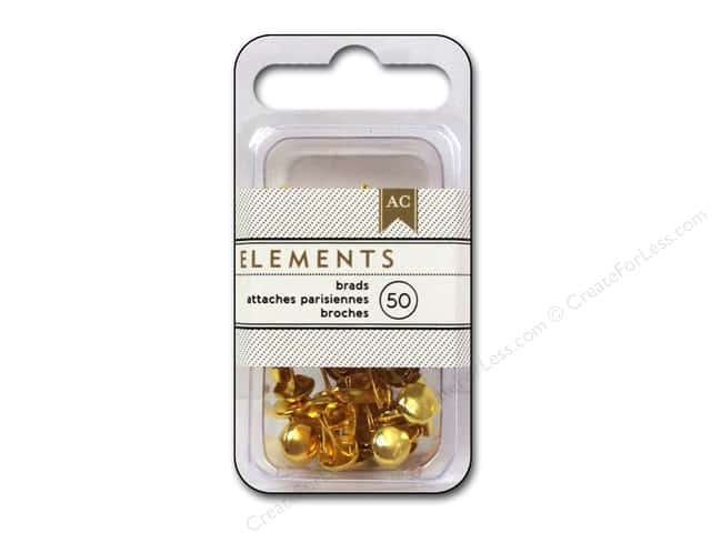 American Crafts Elements Brads 8 mm Medium 50 pc. Gold