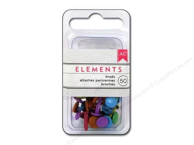 American Crafts Elements Brads 8 mm Medium 50 pc. Brights