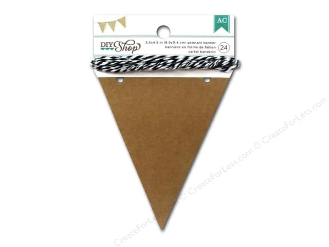 American Crafts DIY Shop Pennant Banner 3 1/2 x 4 1/2 in. Kraft 24 pc.