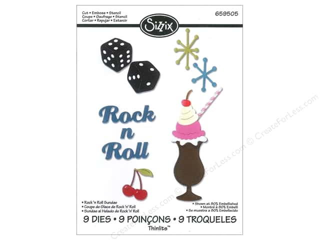 Sizzix Thinlits Die Set 9 pc. Rock 'n Roll Sundae