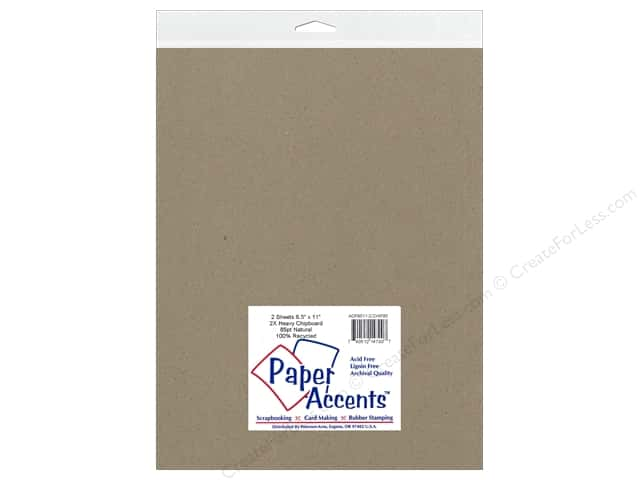 Paper Accents Chipboard 8 1/2 x 11 in. 85 pt. 2X Heavy Natural 2 pc.