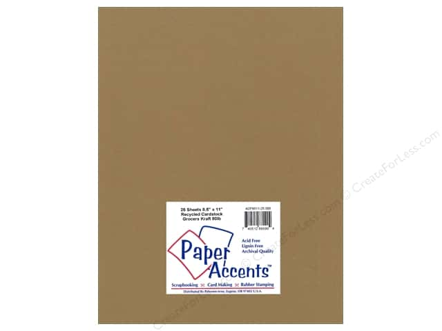 Cardstock 8 1/2 x 11 in. Recycled Grocers Kraft by Paper Accents - 80 lb. (25 sheets)
