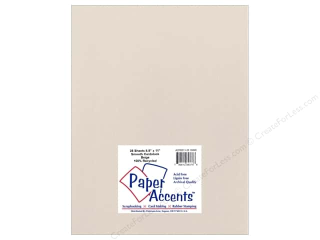 Cardstock 8 1/2 x 11 in. Smooth Beige by Paper Accents (25 sheets)