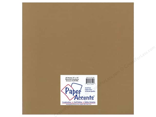Cardstock 12 x 12 in. Recycled Grocers Kraft by Paper Accents - 80 lb. (25 sheets)