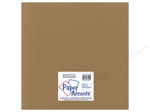 Cardstock 12 x 12 in. Recycled Grocers Kraft by Paper Accents - 120 lb. (25 sheets)