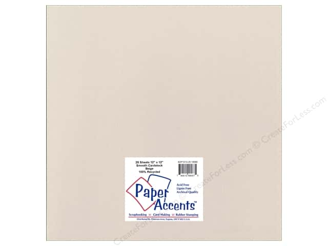 Cardstock 12 x 12 in. Smooth Beige by Paper Accents (25 sheets)