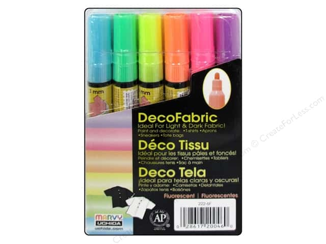 Uchida DecoFabric Paint Marker Set Fluorescent 6 pc.