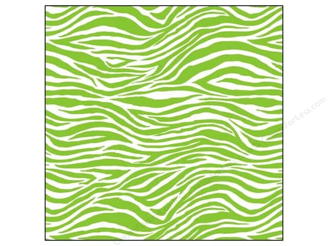 Canvas Corp 12 x 12 in. Paper Lime Green & White Zebra (15 sheets)