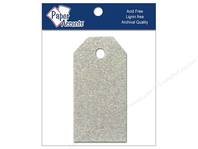 Craft Tags by Paper Accents 7/8 x 1 3/4 in. 10 pc. Glitz Platinum