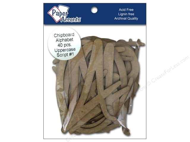Paper Accents Chipboard Shape Alphabet 4 in. Uppercase Script #1 Kraft 40 pc.