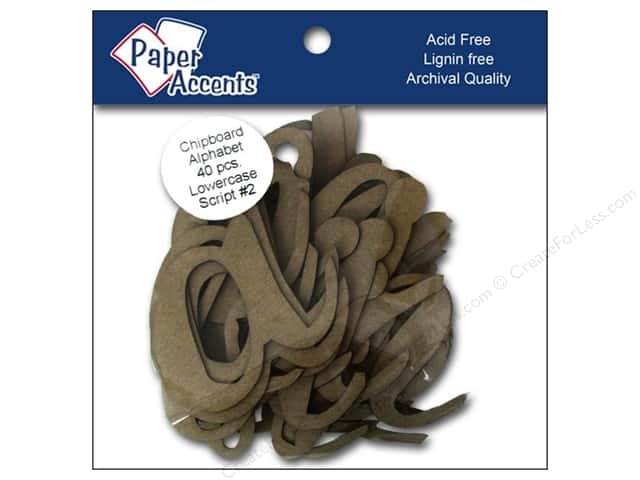 Paper Accents Chipboard Shape Alphabet 4 in. Lowercase Script #2 40 pc. Natural
