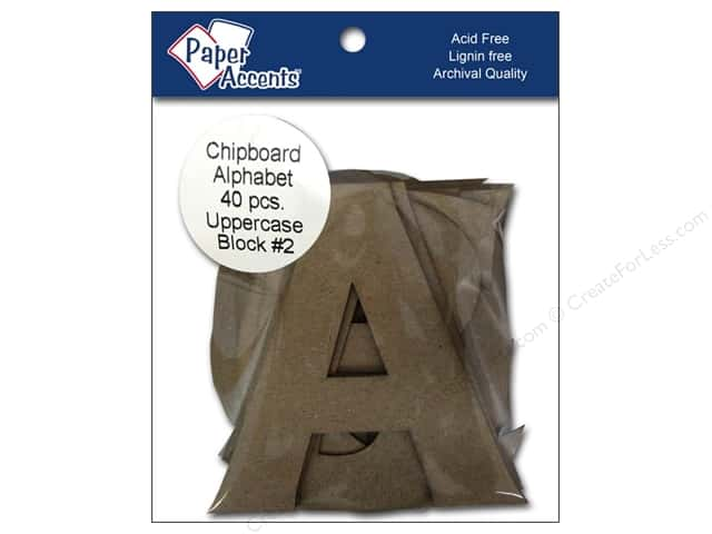 Paper Accents Chipboard Shape Alphabet 4 in. Uppercase Block #2 Kraft 40 pc.