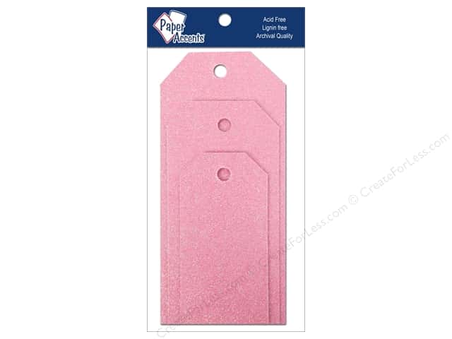 Craft Tags by Paper Accents Assorted 10 pc. Glitz Petal Pink