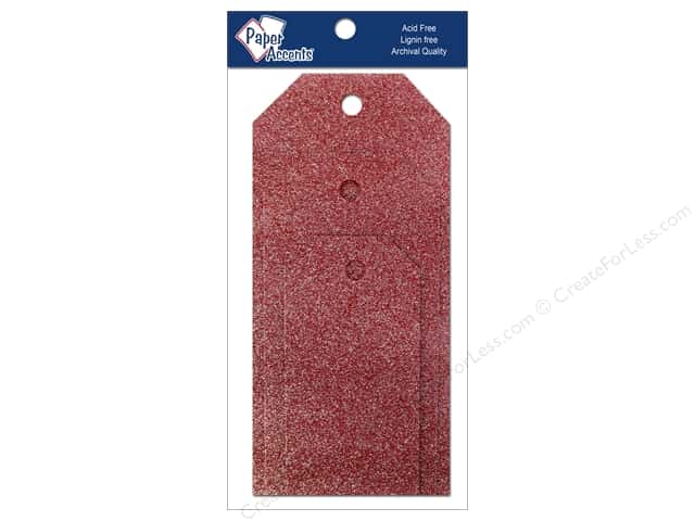 Craft Tags by Paper Accents Assorted 10 pc. Glitz Crimson