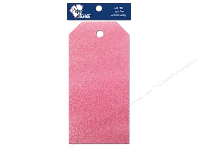 Craft Tags by Paper Accents 2 1/8 x 4 1/4 in. 10 pc. Glitz Petal Pink