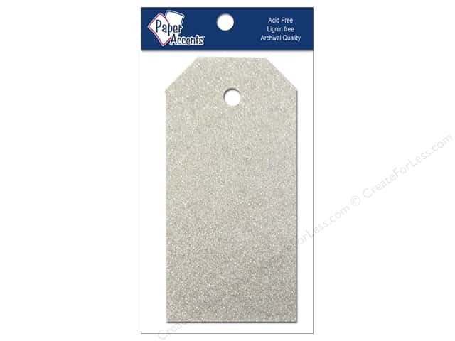Craft Tags by Paper Accents 1 1/4 x 2 1/2 in. 10 pc. Glitz Platinum