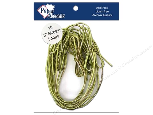 "Paper Accents Stretch Loops 8"" Metallic Gold 10pc"