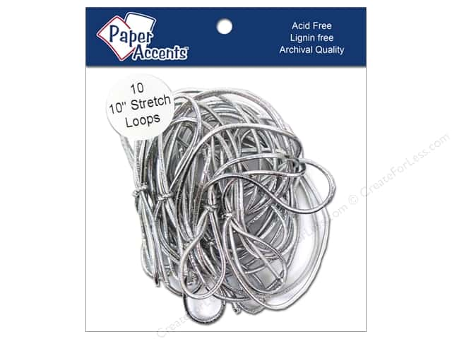 "Paper Accents Stretch Loops 10"" Metallic Silver 10pc"
