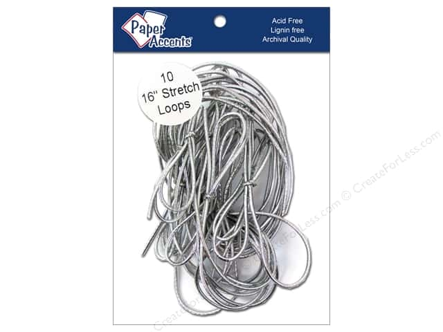 "Paper Accents Stretch Loops 16"" Metallic Silver 10pc"