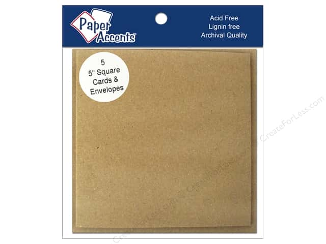 5 x 5 in. Blank Card & Envelopes by Paper Accents 5 pc. Brown Bag
