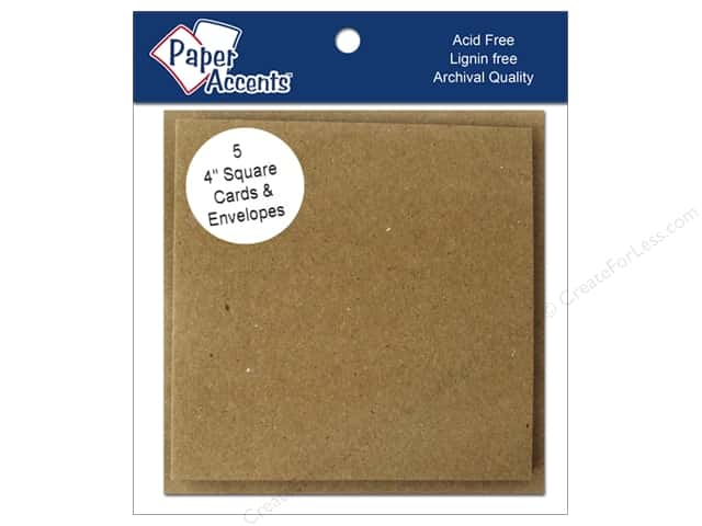 4 x 4 in. Blank Card & Envelopes by Paper Accents 5 pc. Brown Bag