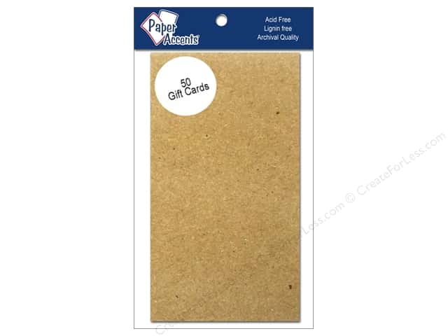 Gift Cards by Paper Accents 2 x 3 1/2 in. Brown Bag 50 pc.