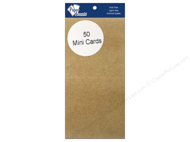 Mini Cards by Paper Accents  2 1/2 x 5 in. Brown Bag 50 pc.