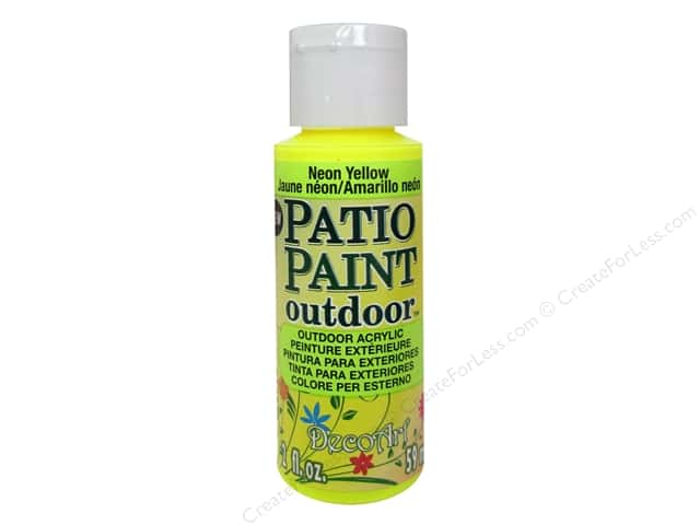 DecoArt Patio Paint Outdoor Acrylic Paint 2 oz. #88 Neon Yellow