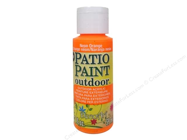DecoArt Patio Paint Outdoor Acrylic Paint 2 oz. #89 Neon Orange