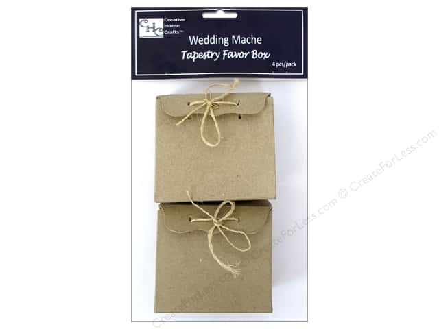 PA Paper Mache Tapestry Favor Box with Twine 4 pc.