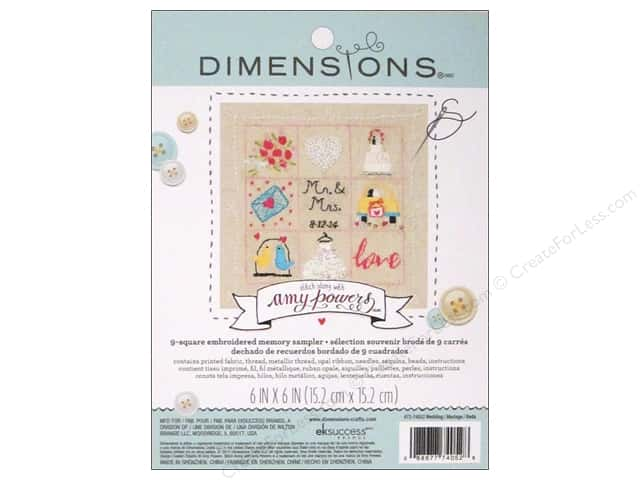 """Dimensions Embroidery Kit 6""""x 6"""" Memory Sampler Amy Powers Wedding"""