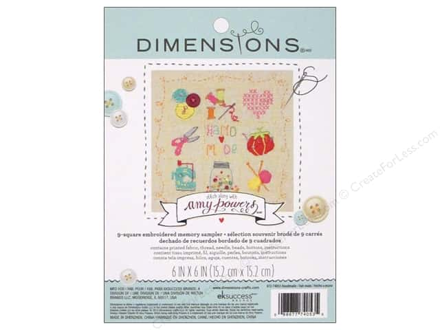 """Dimensions Embroidery Kit 6""""x 6"""" Memory Sampler Amy Powers Handmade"""