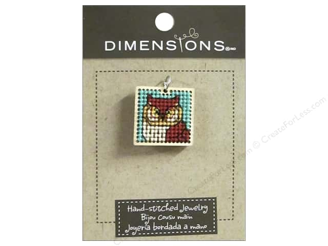 Dimensions Jewelry Hand Stitched Small Square Owl Natural