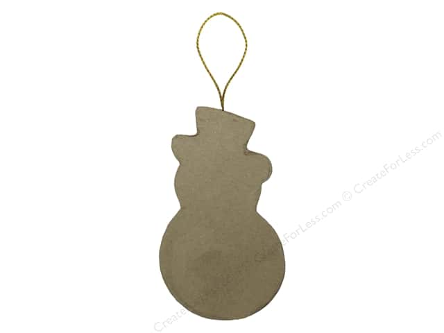 Paper Mache Flat Snowman Ornament by Craft Pedlars