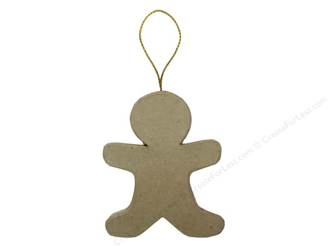 Paper Mache Flat Gingerbread Boy Ornament by Craft Pedlars