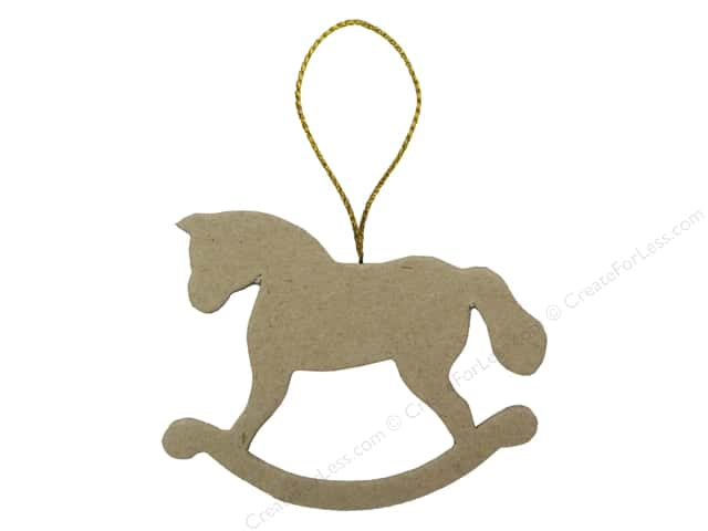 PA Paper Mache Flat Rocking Horse Ornament 3 3/8 in.