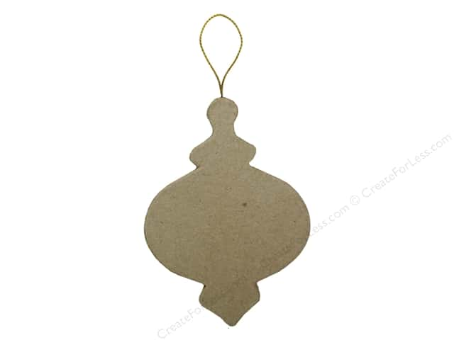 PA Paper Mache Flat Ornate Round Ornament 4 in.