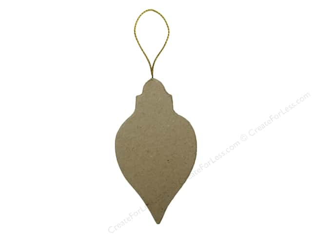 Paper Mache Flat Ornate Oval Ornament by Craft Pedlars