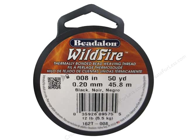 Beadalon Wildfire Bead Thread .20 mm Black 50 yd.