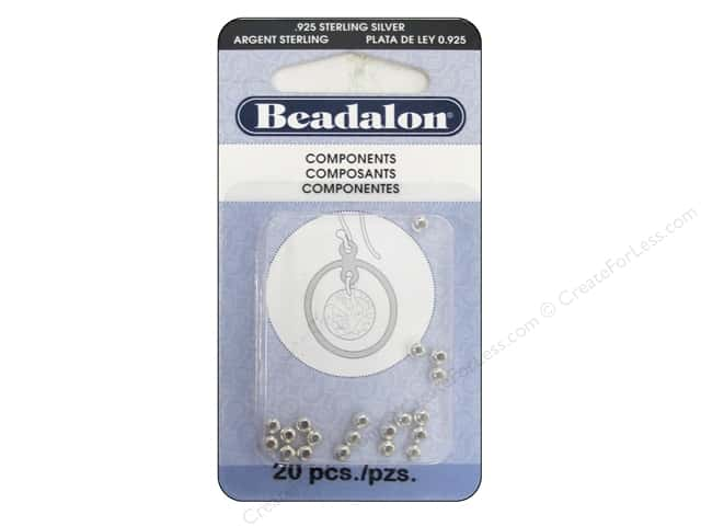 Beadalon Seamed Beads 3 mm Round 20 pc. Sterlng Silver