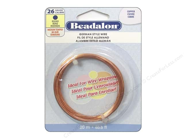 Beadalon German Style Wire 26ga Round Copper 65.6 ft.