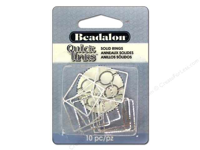 Beadalon Quick Links Square Diamond Cut 20 mm Silver Plated 10 pc.