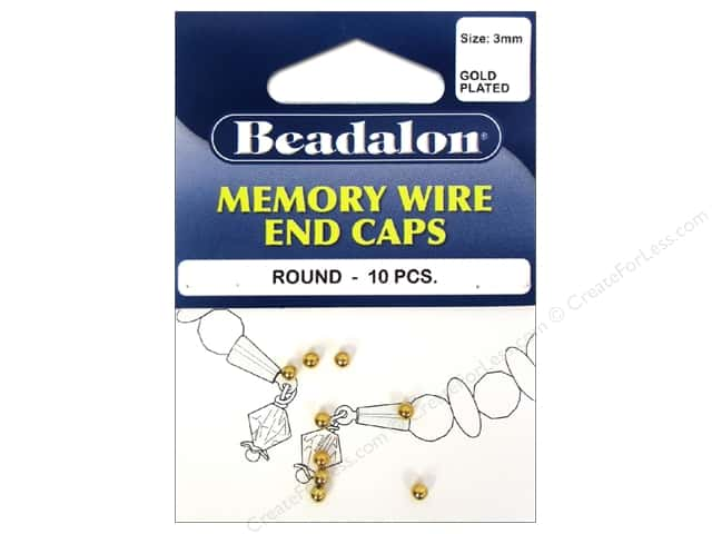 Beadalon Memory Wire End Caps 3 mm (.12 in.) Round 10 pc. Gold Color
