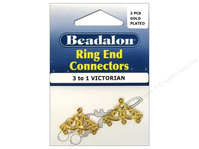 Beadalon Ring End Connectors 2 pc. 3 To 1 Victorian Gold Plated