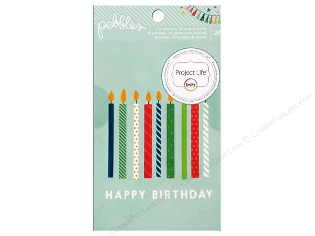 Pebbles Embellishment Birthday Wishes Book Phrases/Journaling Cards