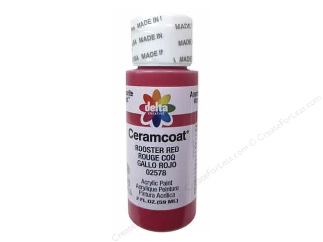 Ceramcoat Acrylic Paint by Delta 2 oz. #2578 Rooster Red