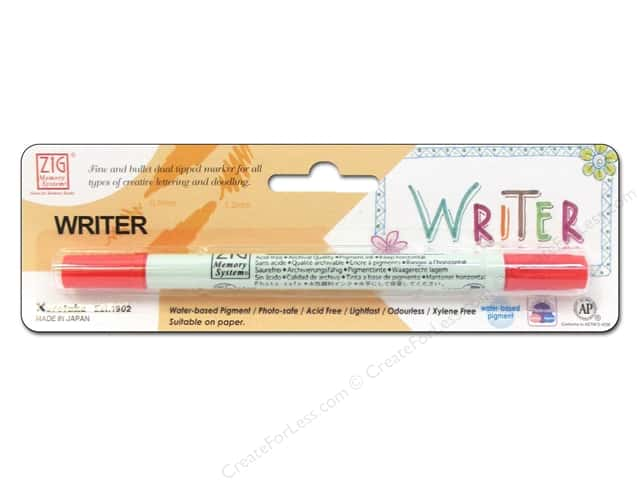 Zig Writer Dual Tip Pen Pure Red