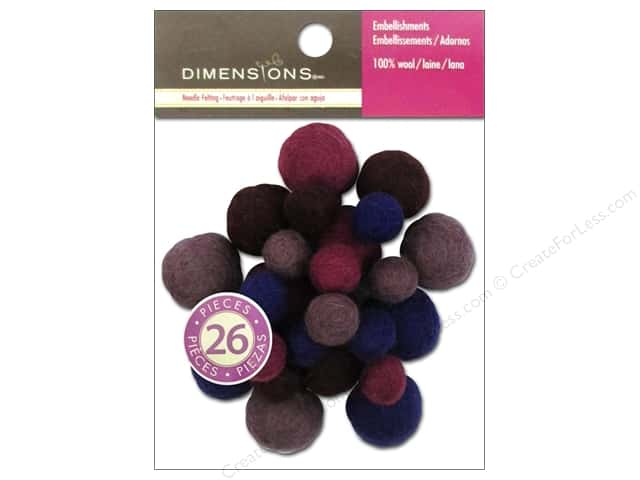 Dimensions 100% Wool Felt Embellishment Ball Assorted Amethyst