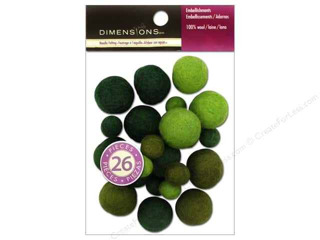 Dimensions 100% Wool Felt Embellishment Ball Assorted Emerald
