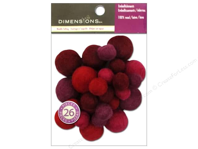 Dimensions 100% Wool Felt Embellishment Ball Assorted Garnet